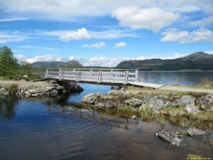 Gångbro mellan Fjällgutusjön och Yttersjön