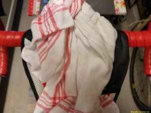 Utsikt en svettig handduk...